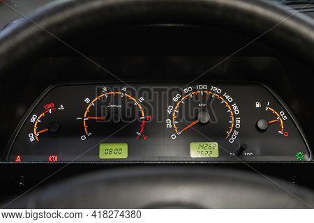 Novosibirsk, Russia - April 25 2021: Lada  Niva 4x4 , Car Dashboard With White  Backlight: Odometer,