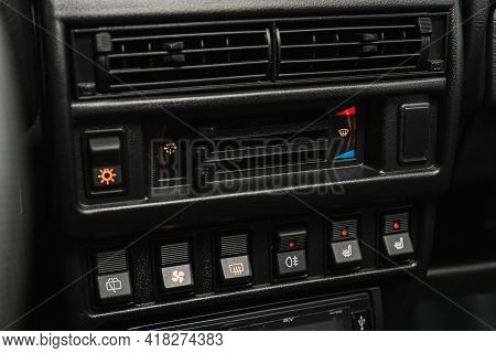Novosibirsk, Russia - April 25 2021: Lada  Niva 4x4 , Close Up Of  Car Panel With The Air Conditioni