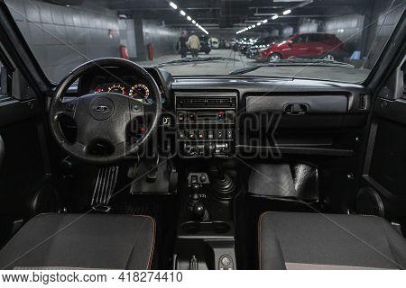 Novosibirsk, Russia - April 25 2021: Lada  Niva 4x4 , Steering Wheel, Shift Lever And Dashboard, Cli