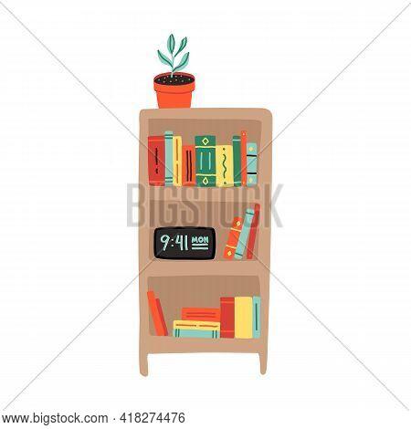 Cute Cartoon Bookshelf With Some Paperback, Textbooks, Alarm Clock And Potted Plant. Dorm Room Furni