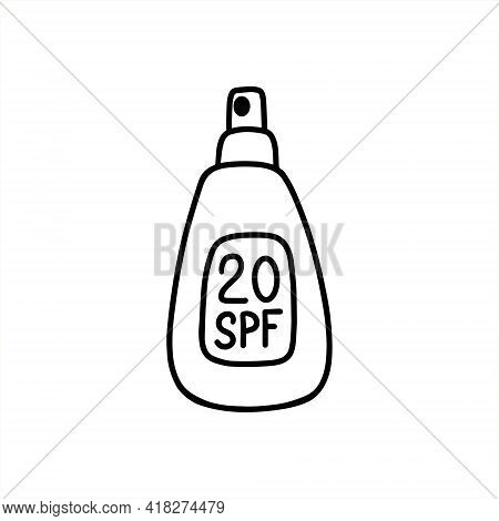 Sunscreen Body Spray. Packaging Of Sunscreen. Tanning Agent With Spf. Vector Illustration In The Doo