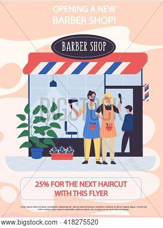 Announcement Of Discounts In Stylish Hair Salon For Men. Opening Of New Barber Shop Concept Poster.