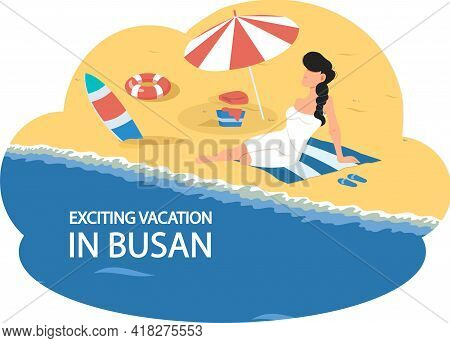 Exciting Vacation In Major Port City Busan Tourist Travel Promotion Poster With Girl Sunbathes On Be