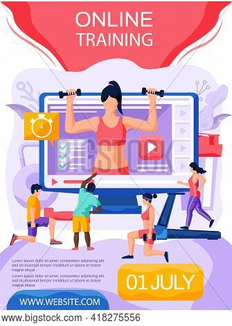 Athletes Doing Sports While Watching Video. People Repeat Exercises After Girl Trainer On Computer M