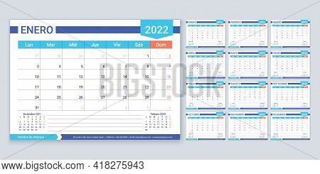 Spanish Calendar For 2022 Year. Planner Template. Week Starts Monday. Vector. Calender Layout With 1
