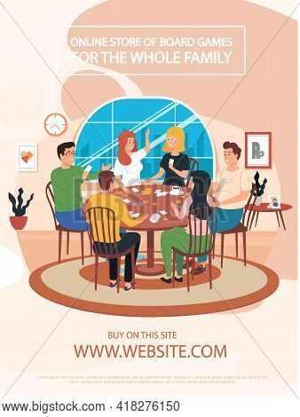 Happy Family Or Friends Playing Who Am I Game At Home On Weekend. People Are Spending Time Together