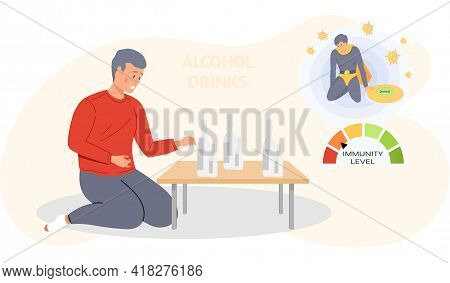 Guy Looking At Alcohol Bottles Alone. Addicted Male Character With Alcohol Beverage Rests At Home. U