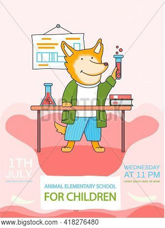 Fox Schoolboy With Test Tube In Hands In Chemistry Class. Funny Cartoon Animal Student During Lesson