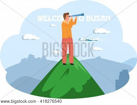 Man Stands On Green Mountain And Looks Through Telescope. Guy On Excursions In South Korea. Person I