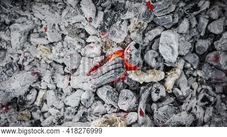 Burning Coals From The Fire. Burnt Firewood. Hot Coals, Abstract Background. Embers Of Burning Wood