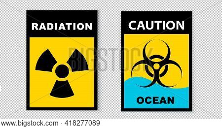 Radiation Sign. Black Inscription On Yellow Background. Water Radiation Danger Vector Illustration.