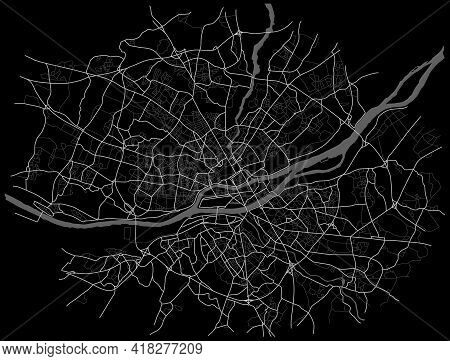 Nant City Map (france) - Town Streets On The Plan. Monochrome Line Map Of The  Scheme Of Road. Urban