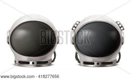 Astronaut Helmet, Cosmonaut Space Suit Front View Isolated On White Background. Pilot Costume Headwe