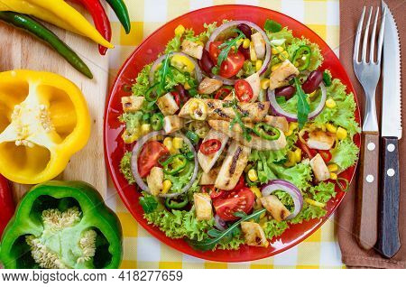 A Top View Of Mexican Spicy Chicken Salad On The Plate. Grilled Chicken Meat With A Tasty Selection