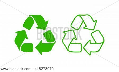 Recycle Icon In Flat And Line Style. Reuse Mark For Use In Typography. Recycle Symbol. Vector Icon.