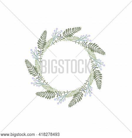 Wreath With Green Grass And Herbs. Floral Garland Good For Eco Card, Organic Products. Nature Vector