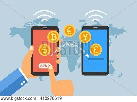 Online Money Transfer Via Smartphone App. Internet Mobile Banking Transaction. Money With Different