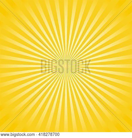 Sunlight Rays Horizontal Background. Bright Yellow Color Burst Background. Vector Illustration. Sun