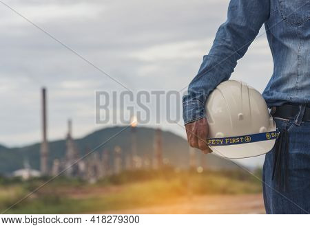 Engineer Man Hands Holding Hardhat White Work Helmet Hard Hat For Civil Construction Engineering. Co
