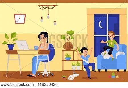 Working Mother And Noisy Children Disturbing Her, Flat Vector Illustration.