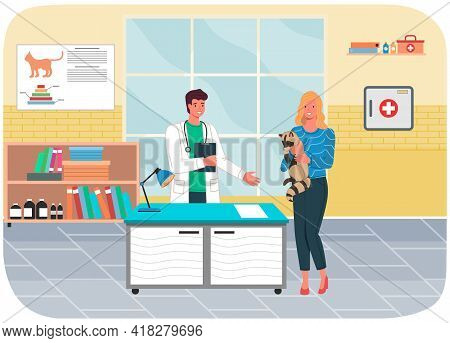 Veterinary Care. Veterinarian Man With Woman Pet Owner Holding Raccoon In Medical Office. Person Bro