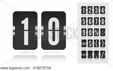 Analog Flip Airport Board Countdown Timer. Retro Scoreboard Modern Ui. Vector Old Time Meter Of Numb