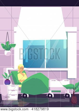 Female Hospital Patient Receiving Intensive Care, Flat Vector Illustration.