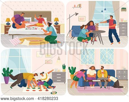 Set Of Illustrations About Family With Board Games At Home. Parents And Children Spend Time In Sitti