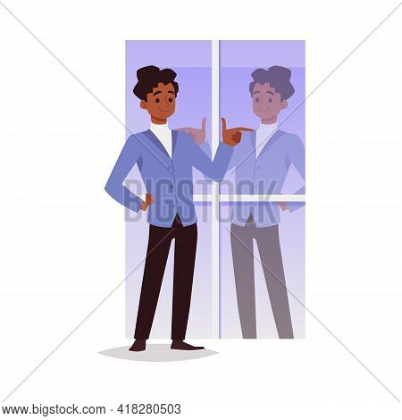 Confident Man Satisfied With His Appearance, Flat Vector Illustration Isolated.