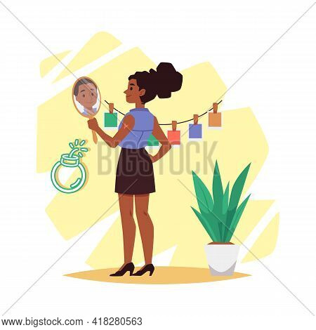 Confident African American Woman With Mirror Flat Vector Illustration Isolated.
