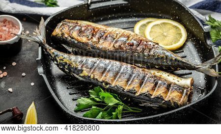 Scomber Roast, Baked Mackerel Fish In A Pan With Lemon Herbs And Spices, Banner, Menu Recipe Japan D