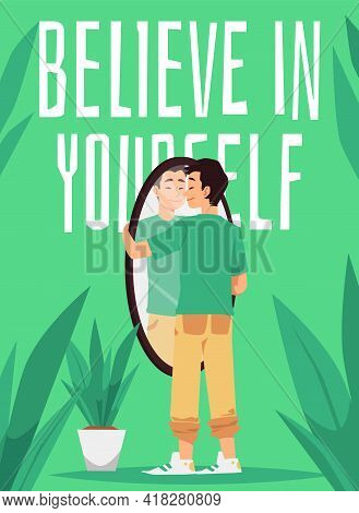 Believe In Yourself Banner Or Card With Confident Man, Flat Vector Illustration.