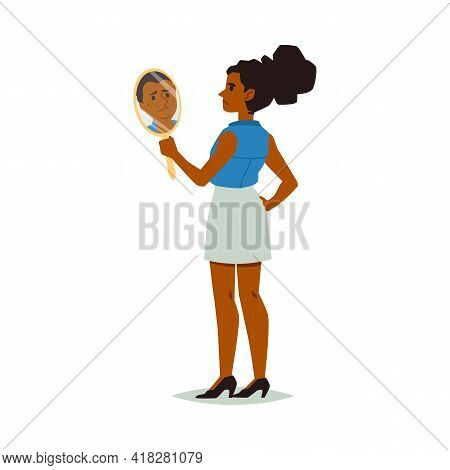 Woman Looking In Mirror With Self Hate, Negative Self Acceptance And Assessment.