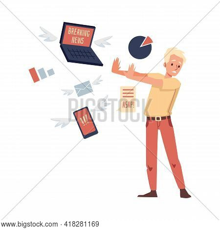 Man Feeling Stressed Of News Overloading, Flat Vector Illustration Isolated.