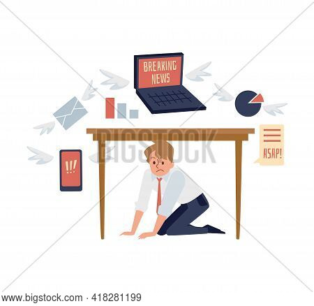 Overwhelmed At Work Man In Stress Tries To Hide From Information Overload.