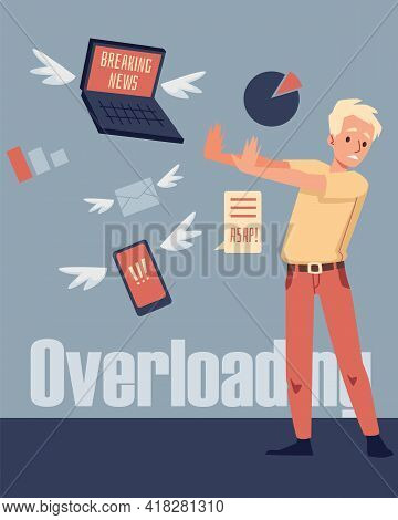 Card With Man Suffering Of Information Overloading, Flat Vector Illustration.