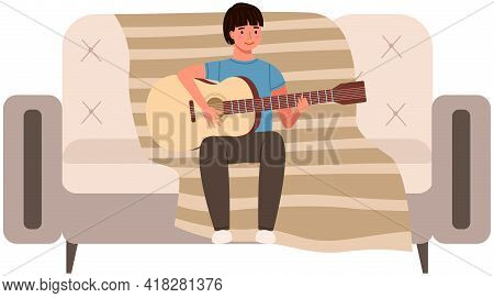 Young Person Playing Guitar At Home. Guy Sitting On Couch With Musical Instrument. Male Character Le