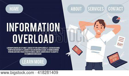 Psychological Stress Of News Overload Website Banner, Flat Vector Illustration.