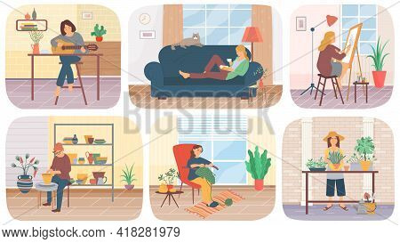 Set Of Illustrations About People Do Creative Work At Home. Cartoon Characters Create Clothes, Dishe