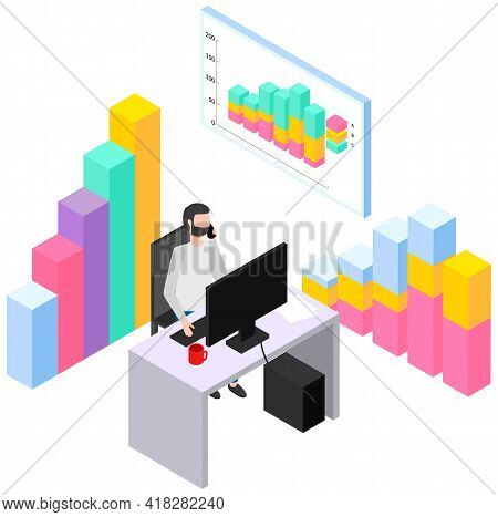 Man Studies Statistics Shown On Bar Chart. Analyze Graphs And Charts Concept. Guy Is Working With Da