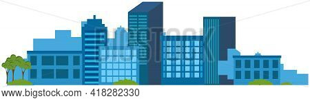 Tall City Buildings And Houses On Horizon. Urban Landscape Isolated Vector. Large High-rise Construc