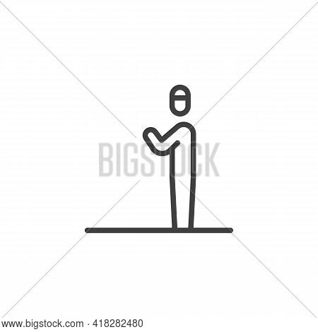 Namaz Prayer Line Icon. Linear Style Sign For Mobile Concept And Web Design. Muslim Prayer Man Outli
