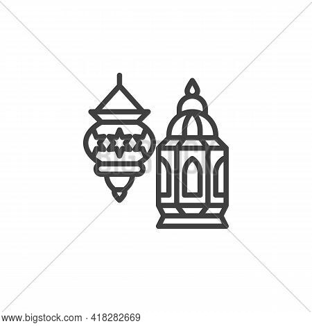Ramadan Lantern Line Icon. Linear Style Sign For Mobile Concept And Web Design. Holy Lantern Outline