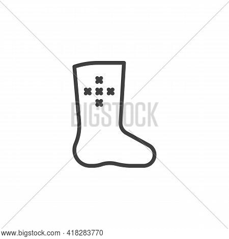 Russian Felt Boots Line Icon. Linear Style Sign For Mobile Concept And Web Design. Valenki Boots Out