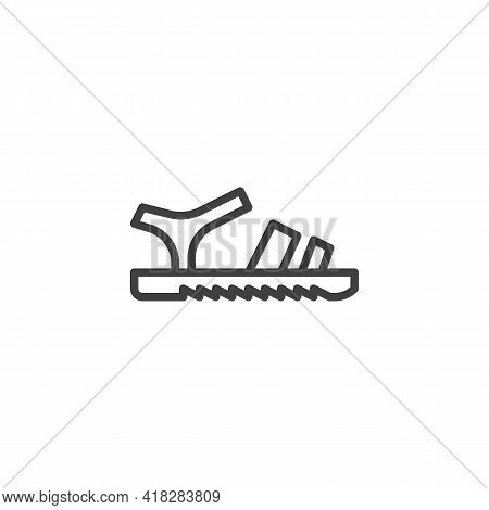 Leather Sandals Line Icon. Linear Style Sign For Mobile Concept And Web Design. Sandals Side View Ou