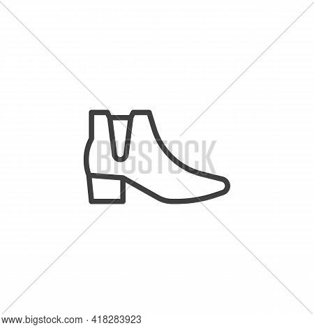 Ankle Boots Line Icon. Linear Style Sign For Mobile Concept And Web Design. Womens Boots Outline Vec