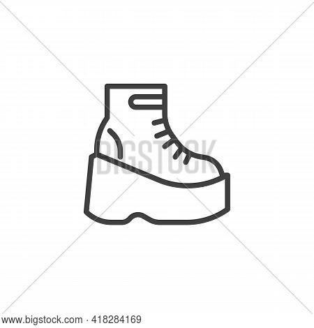 Platform Boots Line Icon. Linear Style Sign For Mobile Concept And Web Design. Women Boot Shoes Outl