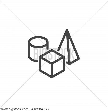 Icon On Composition, 3d Modeling And Visualization, Prototyping. Such Line Sign As Still Life, Set O