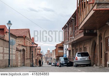 Telavi, Georgia, January, 18, 2021: Old Historical Part Of Telavi Town With Cobble Stone Street And