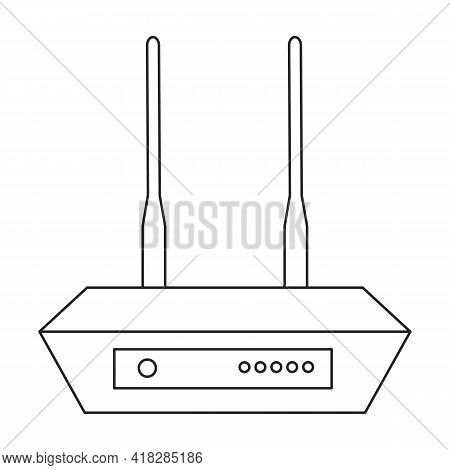 Router Wifi Vector Outline Icon. Vector Illustration Router Wireless On White Background. Isolated O